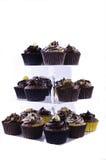 tortów czekoladowy filiżanki stojak Fotografia Stock