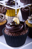 tortów czekoladowy filiżanki stojak Obrazy Stock