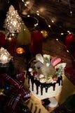 Tort dla bożych narodzeń i zima wakacji Set z Bożenarodzeniowym wystrojem obrazy royalty free