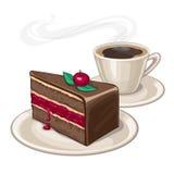 Tort i filiżanka kawy Zdjęcia Royalty Free