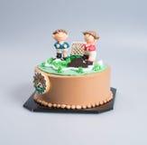 tort lub futbolu tort na tle Obrazy Stock