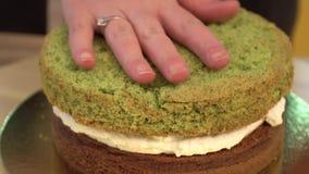 Tort punkt cukierki Zakończenie masło śmietanka na słodycze Biała delikatna śmietanka na czekoladowym torcie z bliska zbiory wideo