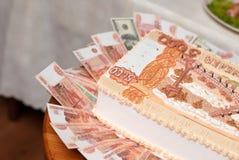 Tort w postaci Rosyjskich wyznań pięć tysięcy rubli Obraz Stock