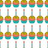 Tort z świeczka bezszwowym wzorem Tortowy słodki deser dla wakacje również zwrócić corel ilustracji wektora royalty ilustracja