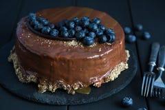 Tort z świeżymi czarnymi jagodami Obraz Stock