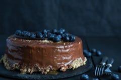 Tort z świeżymi czarnymi jagodami Zdjęcie Stock