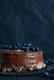 Tort z świeżymi czarnymi jagodami Fotografia Royalty Free