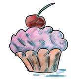 Tort z czereśniowym purpurowym akwareli kreskówki rysunkiem Obrazy Stock