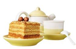 Tort z dokrętkami i filiżanką kawy Zdjęcie Stock