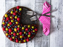 Tort z lasowymi owoc Obrazy Royalty Free