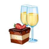 Tort z szkłem szampan Obrazy Royalty Free