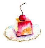 Tort z wiśnią ilustracja wektor