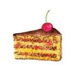 Tort z wiśnią, akwarela projekta element Obrazy Royalty Free