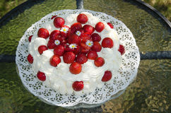 Torta adornada de la fresa Imagen de archivo