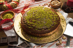 Torta al cioccolato e pistacchi Royalty Free Stock Photo