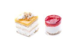 Torta, amarillo y rojo de los pares Fotos de archivo libres de regalías