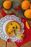 Torta anaranjada de la Navidad Fotografía de archivo libre de regalías
