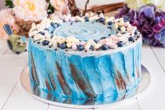 Torta azul con la melcocha Imágenes de archivo libres de regalías
