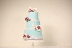 Torta azul del mazapán Fotografía de archivo