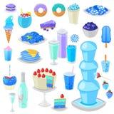 Torta azulada del vector azul de la comida con el arándano y el postre dulce con el sistema ciánico del ejemplo azulado de las be ilustración del vector
