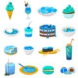 Torta azulada o magdalena del vector azul de la comida con el arándano y el postre dulce con el sistema azulado de la turquesa de ilustración del vector