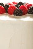Torta bianca con i lamponi e le more Fotografia Stock Libera da Diritti