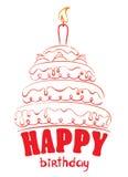 Torta - buon compleanno Fotografia Stock