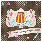 Torta, caramelo, palillos del azúcar Fotografía de archivo libre de regalías