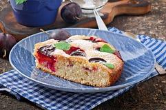 Torta casalinga deliziosa con le prugne Immagini Stock Libere da Diritti