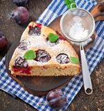 Torta casalinga deliziosa con le prugne Immagine Stock Libera da Diritti