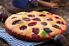 Torta caseiro deliciosa com ameixas Imagens de Stock Royalty Free