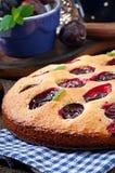 Torta caseiro deliciosa com ameixas Fotos de Stock Royalty Free