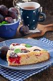 Torta caseiro deliciosa com ameixas Fotografia de Stock Royalty Free