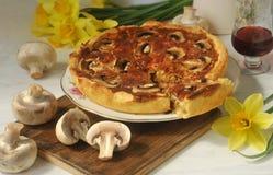 Torta caseiro do cogumelo, cogumelos frescos e vinho tinto Ainda vida 1 Fotos de Stock