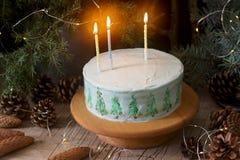 Torta celebradora adornada con los árboles de navidad pintados en un fondo oscuro de ramas y de conos Estilo rústico imagenes de archivo