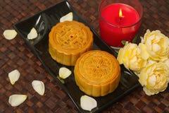 Torta china de la luna para el festival de mediados de otoño chino Imagen de archivo