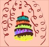 Torta coloreada por el Año Nuevo, la Navidad, cumpleaños stock de ilustración