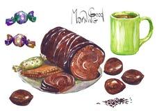 Torta colorida de la acuarela con latte o té de la salsa del caramelo Desayuno Foto de archivo libre de regalías