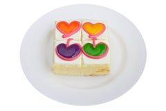 Torta colorida del amor fotografía de archivo
