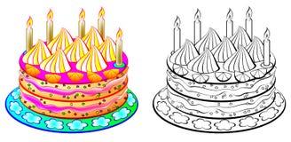 Torta colorida y blanco y negro del modelo ilustración del vector