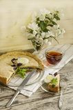 Torta com espinafres e ovos Fotografia de Stock