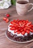 Torta com morango Imagens de Stock