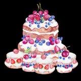 Torta, comida, dulces Objeto de la acuarela Foto de archivo