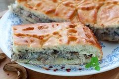 Torta con carne e salsa Fotografia Stock