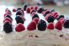 Torta con crema blanca azotada, cierre fresco de los arándanos, de la zarzamora y de la frambuesa para arriba imagen de archivo