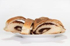 Torta con crema del cacao Imagen de archivo libre de regalías