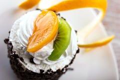 Torta con crema y frutas Imágenes de archivo libres de regalías