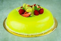 Torta con el chocolate verde claro Foto de archivo