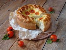 Torta con formaggio ed i pomodori Fotografia Stock