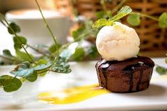 Torta con helado de vainilla Fotos de archivo